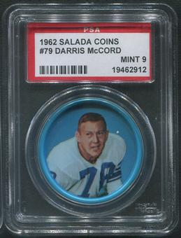 1962 Salada Coins Football #79 Darris McCord PSA 9 (MINT)