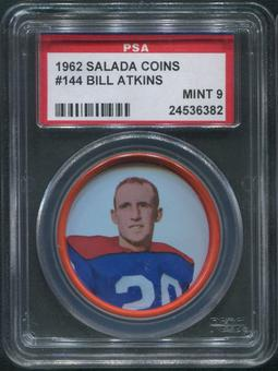 1962 Salada Coins Football #144 Bill Atkins PSA 9 (MINT)