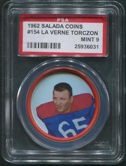 1962 Salada Coins Football #154 Laverne Torczon PSA 9 (MINT)