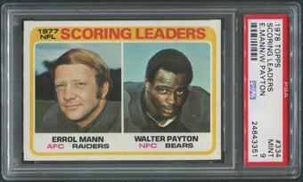 1978 Topps Football #334 Walter Payton & Errol Mann Scoring Leaders PSA 9 (MINT)