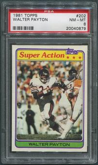 1981 Topps Football #202 Walter Payton Super Action PSA 8 (NM-MT)