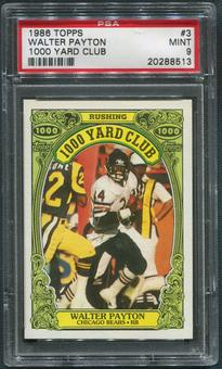 1986 Topps Football #3 Walter Payton 1000 Yard Club PSA 9 (MINT)