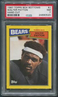 1987 Topps Football #J Walter Payton Box Bottoms Hand Cut PSA 7 (NM)