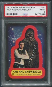 1977 Star Wars Stickers #12 Han And Chewbacca PSA 9 (MINT)