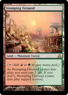 Magic the Gathering Guildpact Single Stomping Ground MODERATE PLAY (VG/EX)