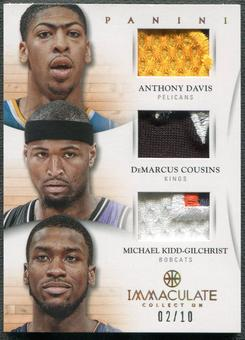 2012/13 Immaculate Collection #37 Anthony Davis DeMarcus Cousins Michael Kidd-Gilchrist Patch #02/10