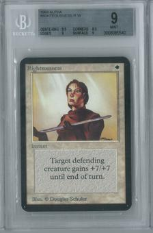 Magic the Gathering Alpha Single Righteousness BGS 9 (8.5, 9.5, 9, 9)