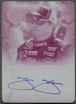 2008 Press Pass Legends #JJ Jimmie Johnson Press Plate Magenta Auto #1/1