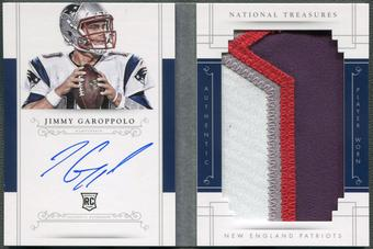 2014 Panini National Treasures #RJJG Jimmy Garoppolo Rookie Jumbo Patch Booklet Auto #42/99