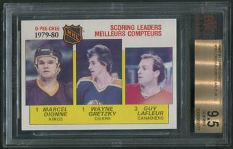 1980/81 O-Pee-Chee Hockey #163 Scoring Leaders Marcel Dionne Wayne Gretzky Guy Lafleur BGS 9.5 (GEM MINT)