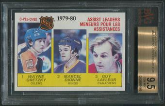 1980/81 O-Pee-Chee Hockey #162 Assists Leaders Wayne Gretzky Marcel Dionne Guy Lafleur BGS 9.5 (GEM MINT)