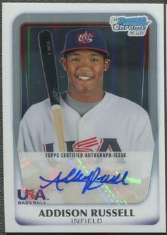 2011 Bowman Chrome #18U21 Addison Russell 18U USA National Team Refractor Rookie Auto #039/417