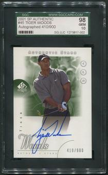 2001 SP Authentic #45 Tiger Woods Rookie Auto #410/900 SGC 98 (GEM 10)