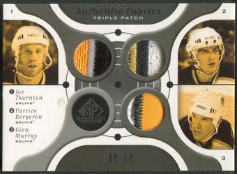 2005/06 SP Game Used #TBM Joe Thornton Patrice Bergeron Glen Murray Authentic Fabrics Triple Patch #09/10