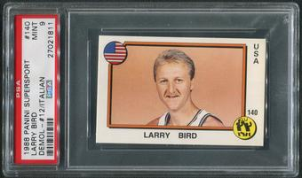 1988 Panini Supersport Basketball #140 Larry Bird & #12 Demol PSA 9 (MINT)