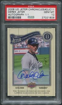 2008 Upper Deck #DJC11 Derek Jeter Chronicles Auto #1/1 PSA 10 (GEM MT)