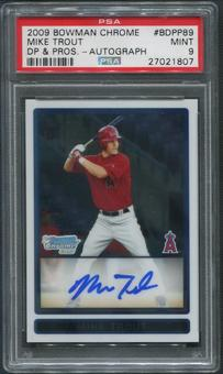 2009 Bowman Chrome Draft Prospects #BDPP89 Mike Trout Rookie Auto PSA 9 (MINT)