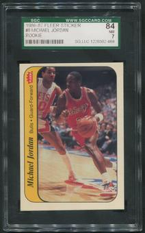 1986/87 Fleer Basketball #8 Michael Jordan Rookie Sticker SGC 84 (NM 7)