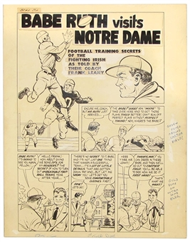 1949 Babe Ruth Sports Comics #5 Original Artwork