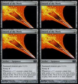 Magic the Gathering Future Sight 4x PLAYSET Sword of the Meek - NEAR MINT (NM)