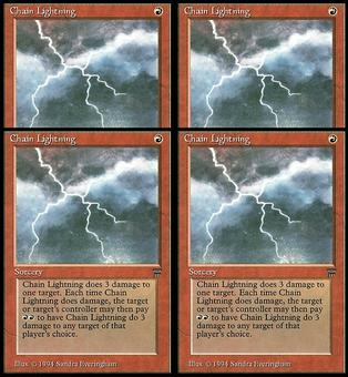 Magic the Gathering Legends 4x PLAYSET Chain Lightning - NEAR MINT (NM)