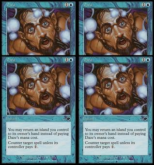 Magic the Gathering Nemesis 4x PLAYSET Daze Foil - SLIGHT PLAY (SP)