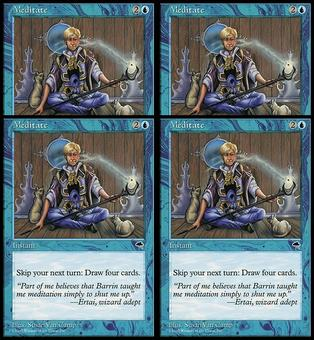 Magic the Gathering Tempest 4x PLAYSET Meditate - SLIGHT PLAY (SP)