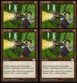 Magic the Gathering Weatherlight 4x PLAYSET Null Rod - SLIGHT/MODERATE PLAY (SP/MP)