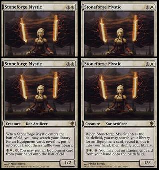 Magic the Gathering Worldwake PLAYSET Stoneforge Mystic - 4x SLIGHT PLAY (SP)