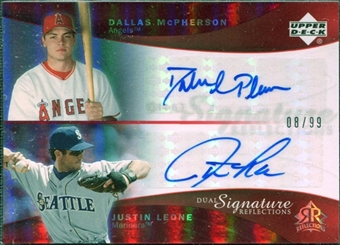2005 Upper Deck Reflections Dual Signatures Red #DMJL Dallas McPherson Justin Leone /99