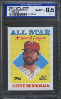 1988 Topps Cloth Baseball Steve Bedrosian ISA 8.5 (NM-MT+) *3047 (Test Set)