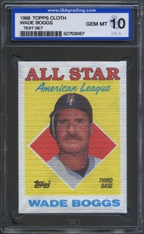 1988 Topps Cloth Baseball Wade Boggs ISA 10 (GEM MINT) *3067 (Test Set)