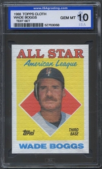 1988 Topps Cloth Baseball Wade Boggs ISA 10 (GEM MINT) *3068 (Test Set)