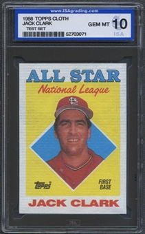 1988 Topps Cloth Baseball Jack Clark ISA 10 (GEM MINT) *3071 (Test Set)