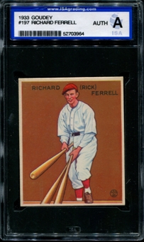 1933 Goudey Baseball #197 Richard Ferrell ISA A (Authentic) *3964