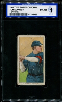 1909-11 T206 Sweet Caporal Tom Downey (Batting) ISA 1 (PR-FR) *8469