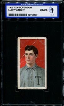 1909-11 T206 Sovereign Lucky Wright ISA 1 (PR-FR) *8477
