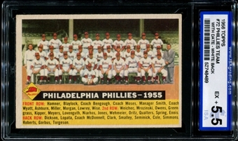 1956 Topps Baseball #72 Philadelphia Phillies Team (With Date) ISA 5.5 (EX+) *8489