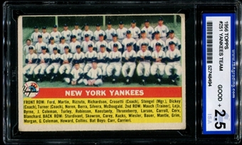 1956 Topps Baseball #251 New York Yankees Team ISA 2.5 (GOOD+) *8494