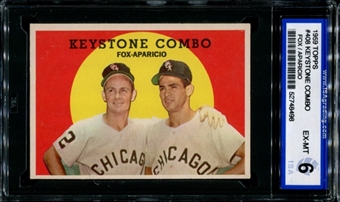 1959 Topps Baseball #408 Keystone Combo (Fox-Apparicio) ISA 6 (EX-MT) *8498