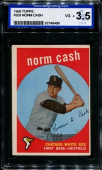 1959 Topps Baseball #509 Norm Cash Rookie ISA 3.5 (VG+) *8499