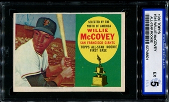 1960 Topps Baseball #316 Willie McCovey Rookie ISA 5 (EX) *8501
