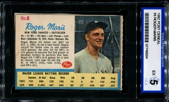 1962 Post Cereal Baseball #6 Roger Maris ISA 5 (EX) *8504
