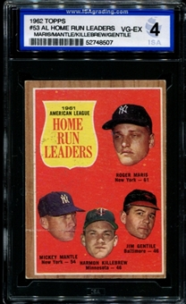 1962 Topps Baseball #53 AL Home Run Leaders ISA 4 (VG-EX) *8507