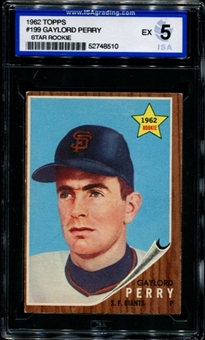 1962 Topps Baseball #199 Gaylord Perry Rookie ISA 5 (EX) *8510