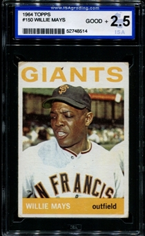 1964 Topps Baseball #150 Willie Mays ISA 2.5 (GOOD+) *8514