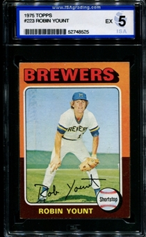 1975 Topps Baseball #223 Robin Yount Rookie ISA 5 (EX) *8525