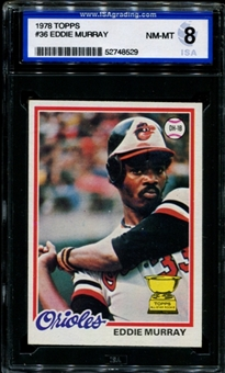 1978 Topps Baseball #36 Eddie Murray Rookie ISA 8 (NM-MT) *8529
