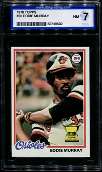 1978 Topps Baseball #36 Eddie Murray Rookie ISA 7 (NM) *8532