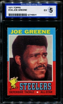 1971 Topps Football #245 Joe Greene Rookie ISA 5 (EX) *8541